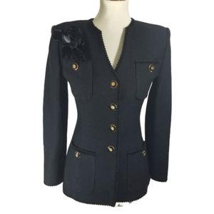 St. John Black Shimmer tweed jacket w/brooch sz 4